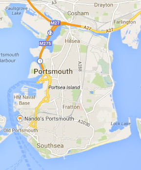 portsmouth car hire map