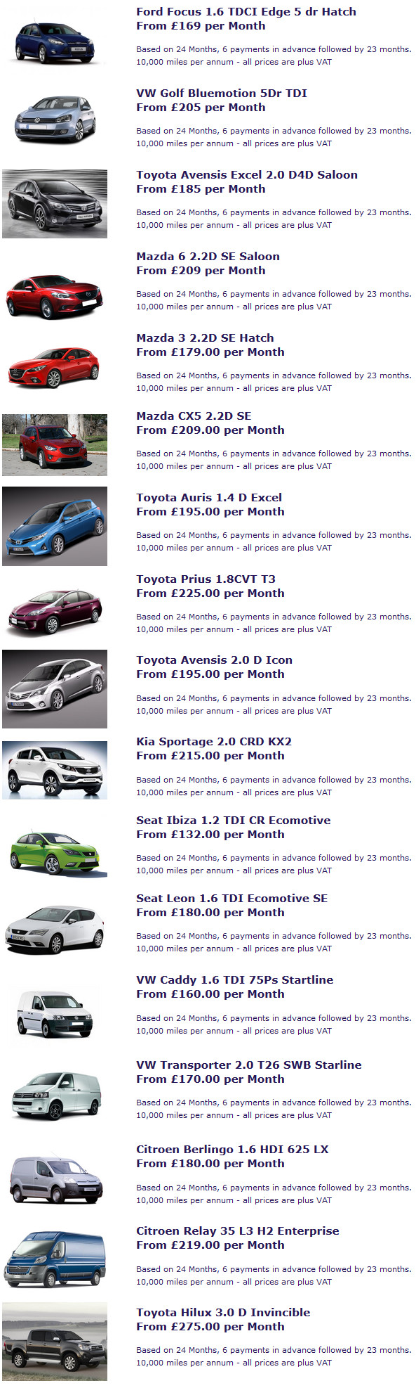 2014 contract vehicle hire offers